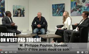 Capture d'écran du clip de campagne de Philippe Poutou dans lequel il parodie l'émission «On n'est pas couché».