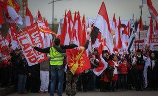 Manifestation d'Alsaciens contre la réforme territoriale et la fusion de la région avec la Lorraine et Champagne-Ardenne à Strasbourg, le 13 décembre 2014.
