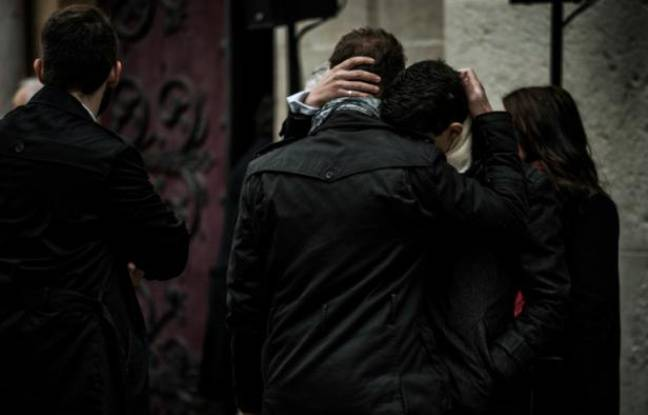 Aux funérailles d'une des victimes des attentats du 13 novembre, le 23 novembre 2015 à Lyon