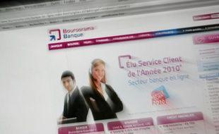 Le site internet de la banque en ligne Boursorama en février 2010.