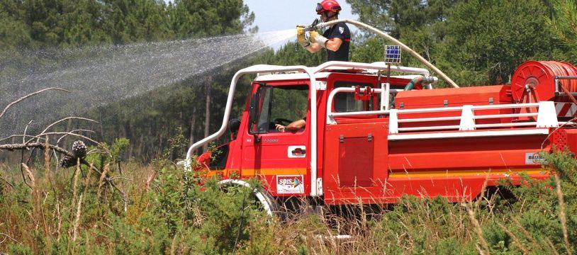 Illustration pompiers , feu de forêt.