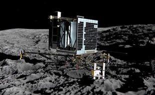 Le robot Philae sur la surface de la comète Tchourioumov selon un dessin d'artistes diffusé le 20 décembre 2013 par l'Agence spatiale européenne