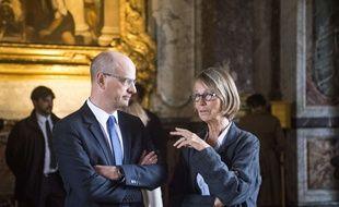 Jean-Michel Blanquer et Françoise Nyssen lors de l'opération une journée de vacances à Versailles.