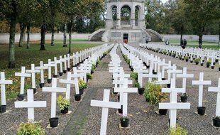 Alignement de croix blanches à Sainte-Anne d'Auray, dans le Morbihan, en hommage aux agriculteurs qui se sont suicidés.
