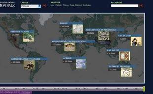 Capture d'écran de la page d'accueil de la Bibliothèque numérique mondiale