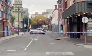 Capture d'écran d'une vidéo postée sur Twitter montrant le lieu de la fusillade qui a eu lieu à Melbourne, en Australie.