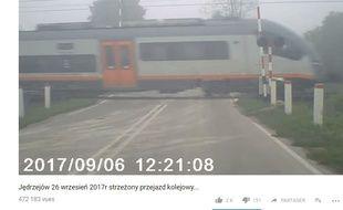 Cette vidéo montre un passage à niveau en Pologne et non celui de Millas, contrairement à ce qu'indiquent plusieurs internautes.