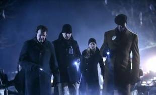 "John Noble, Joshua Jackson, Anna Torv et Lance Reddick de la série ""Fringe"""