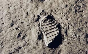 L'empreinte de pas de Buzz Aldrin sur la Lune, le 20 juillet 1969.