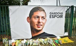 Un poster d'Emiliano Sala, à la Jonelière.