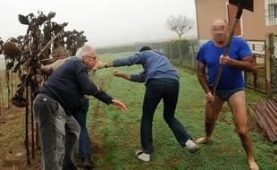 Des militants de la LPO dont Allain Bougrain-Dubourg et des journalistes attaqués à coups de pelle lors d'une opération de libération de pinsons le 9 novembre 2015 à Audon.