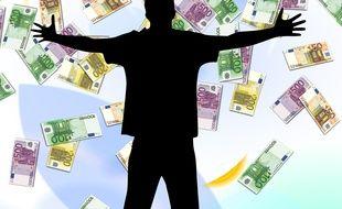 Illustration d'une personne devant des billets de banque