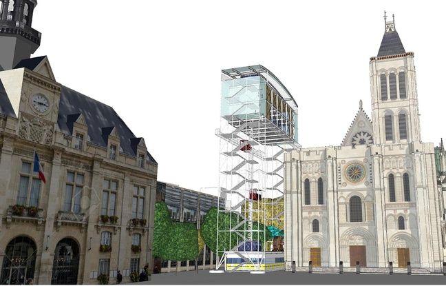 Le plan du futur chantier-village avec un échaffaudage qui permettra au public de voir l'avancée de la flèche.