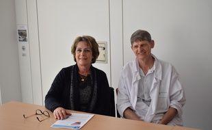 Michèle Telle, victime du Tako-Tsubo, et Eric Bonnefoy Cudraz chef des urgences cardiologiques Louis-Pradel à Bron.