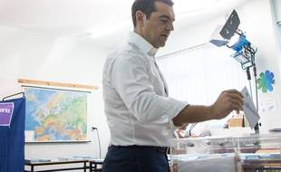 Le Premier ministre grec, Alexis Tsipras vote pour les européennes, le 26 mai 2019