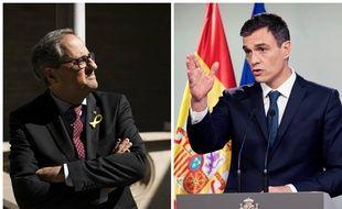 A gauche,  le président indépendantiste catalan Quim Torra, à droite le nouveau chef du gouvernement espagnol Pedro Sanchez.(photomontage)
