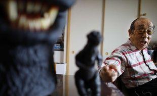 Haruo Nakajima, ici en 2014, a revêtu douze fois le costume de Godzilla au cinéma entre 1954 et 1972.