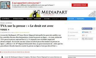 Capture d'écran du site Mediapart avec un édito pour la baisse de la TVA appliquée à la presse en ligne