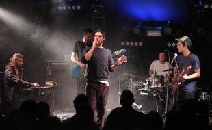 """Le chanteur suisse Max Usata de """"Puts Marie"""" sur la scène des 36e Transmusicales de Rennes, le 5 décembre 2014"""