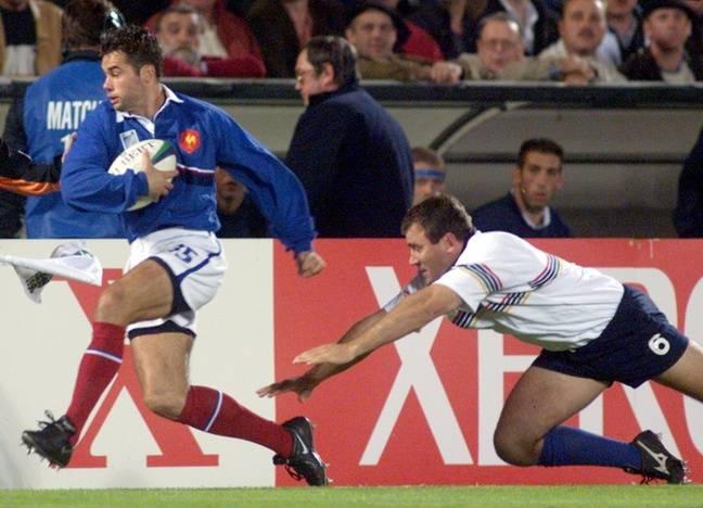 Avec le XV de France contre la Namibie, lors de la Coupe du monde 1999.