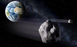 Vue d'artiste d'un astéroïde passant à proximité de la Terre.