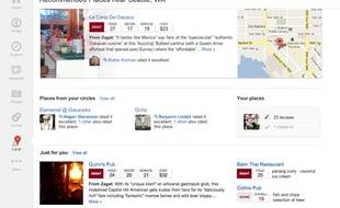 L'interface de Google+ Social.