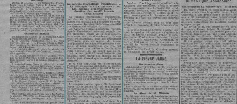"""Coupure de presse de La Lanterne paru en 1908 dévoilant un article intitulé """"L'avortement criminel"""""""