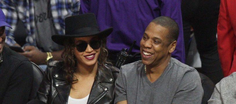 La chanteuse Beyoncé et le rappeur JAY-Z au Staples Center de Los Angeles