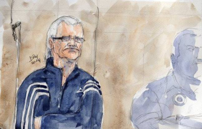Dessin de Francis Heaulme, lors de l'ouverture de son procès, à Metz, le 31 mars 2014