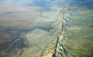 Vue aérienne de la faille de San Andreas, en Californie.