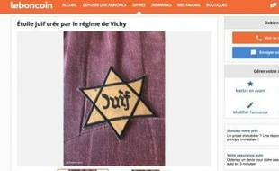 L'annonce de l'étoile jaune postée le 13 janvier sur le site Leboncoin.