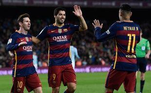 Lionel Messi, Luis Suarez et Neymar, le 14 février 2016, au Camp Nou.