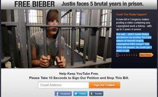Capture d'écran du site «Free Bieber» qui s'oppose à un projet de loi américain visant à renforcer la défense des droits d'auteur sur Internet.