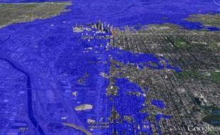 Denver après une montée des eaux de 1600 m, selon le logiciel Google Earth, le 24 octobre 2013.