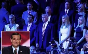 A la convention républicaine de Cleveland, le 20 juillet 2016, Donald Trump et ses enfants réagissent au discours de Ted Cruz
