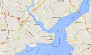 Carte d'Istanbul, avec la position de la station de métro Bayrampasa-Metelpe.