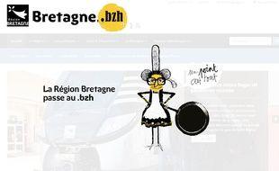 Le site de la région Bretagne a adopté l'extension .bzh.