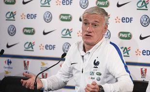 Didier Deschamps en conférence de presse, le 9 novembre 2017 au Stade de France.