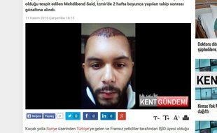 Capture d'écran du site d'un média turc montrant la photo d'un djihadiste français présumé arrêté à Izmir.