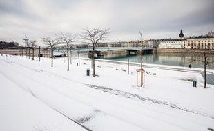 Lyon sous la neige le 1er mars 2018