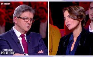 Jean-Luc Mélenchon et Laurence Debray le 30 novembre 2017 sur France 2.