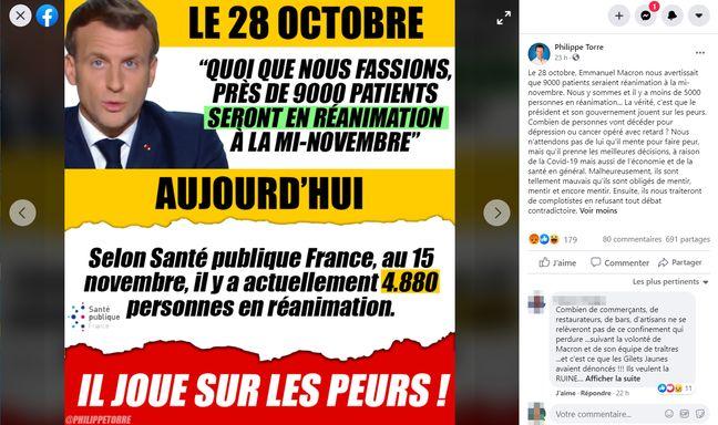 Sur cette publication Facebook, le vice-président de Debout la France, Philippe Torre, accuse Emmanuel Macron d'avoir sciemment menti sur les chiffres du Covid pour faire peur aux Français.