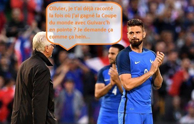 Aimé Jacquet partage ses souvenirs avec Olivier Giroud.