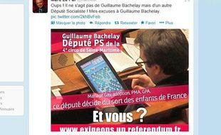 Capture d'écran du compte Twitter du député UMP Marc Le Fur, 5 février 2013.