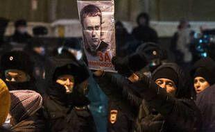 Des manifestants appelant à la libération de Navalny, le 18 janvier 2021.