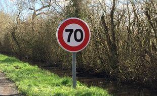 Limitation à 70 km/h sur la RD 209 en Gironde.