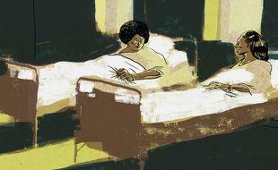 Illustration par le dessinateur Hippolyte d'une chambre de la clinique de Saint-Benoît, à La Réunion, où ont été pratiqués des avortements et des stérilisations forcés dans les années 1960-1970. Travail réalisé dans le cadre du documentaire de Jarmila Buzkova, «Les 30 Courageuses de La Réunion : une affaire oubliée».