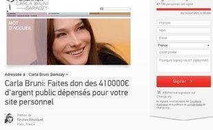 Une pétition a été lancée pour que Carla Bruni-Sarkozy fasse don des 410.000 euros qu'a coûté son site.