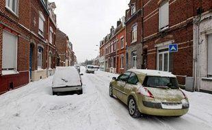 Lille, le 12 mars 2013. Des fortes chutes de neige paralysent la métropole lilloise.