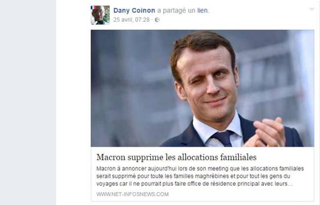 Fake news sur Emmanuel Macron et les allocations familliales